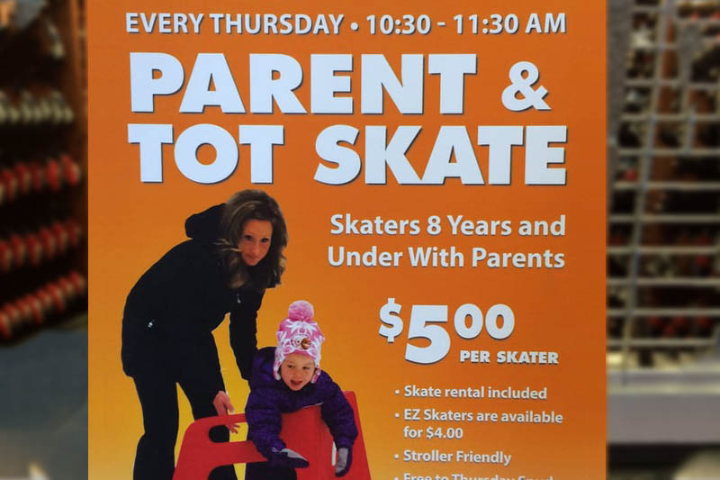 Parent and Tot Skate with $5 Skate Helper Rental